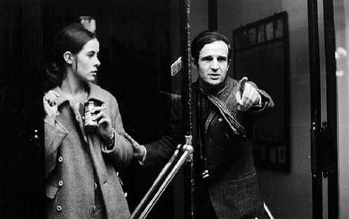 "Claude Jade und François Truffaut bei Dreharbeiten zu ""Baisers volés"""