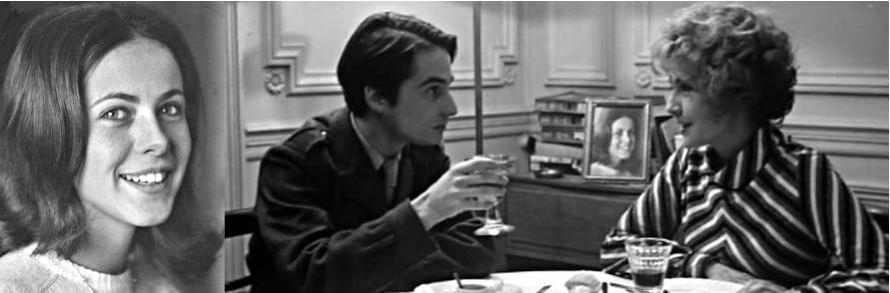 Vor ihrem ersten Auftritt ist Claude Jade auf Fotos zu sehen – hier im Esszimmer der Darbons zwischen Jean-Pierre Léaud und Claire Duhamel.