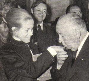 Claude Jade, Alfred Hitchcock et Philippe Noiret