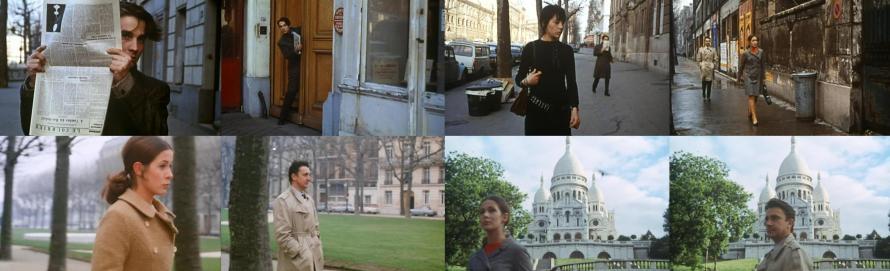 """Beschattungen und Verfolgungen - Jean-Pierre Léaud, Pascale Dauman, Claude Jade und Serge Rousseau in """"Baisers volés"""""""