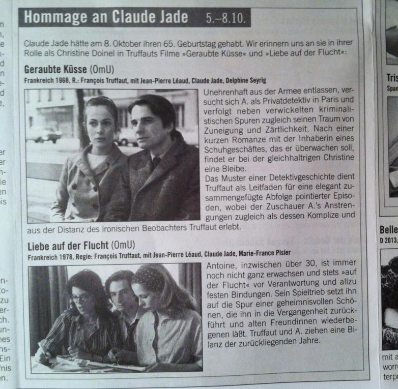 Hommage an Claude Jade Lichtblick Kino Berlin 2013