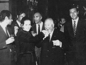 Claude Jade, Alfred Hitchcock, Michel Subor, Philippe Noiret, Michel Piccoli, Frederick Stafford