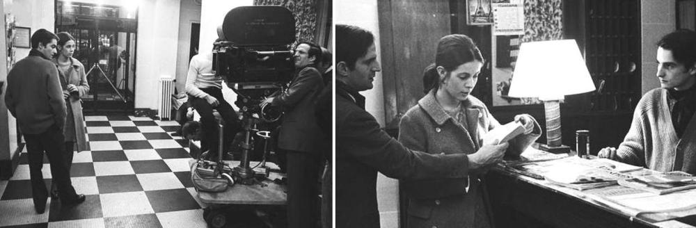 Claude Jade an ihrem ersten Drehtag mit François Truffaut und Jean-Pierre Léaud