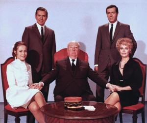 "Claude Jade, John Forsythe, Alfred Hitchcock, Frederick Stafford, Dany Robin ""Topaz"""