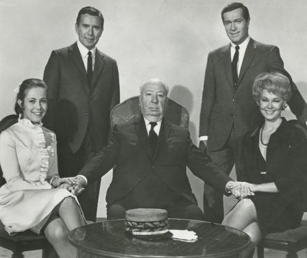 Claude Jade, John Forsythe, Alfred Hitchcock, Frederick Stafford, Dany Robin