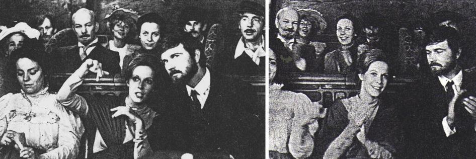 """Trofimow: """"Inessa fühlte sich in diesem Cabaret wohl wie ein Fisch im Wasser"""". Claude Jade, Wladimir Antonik, hinten: Juri Kajurow und Walentina Swetlowa"""