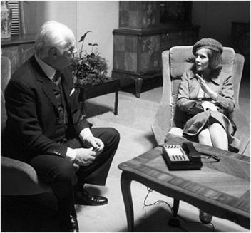"""Curd Jürgens und Claude Jade. Dreharbeiten """"Teheran 43"""""""