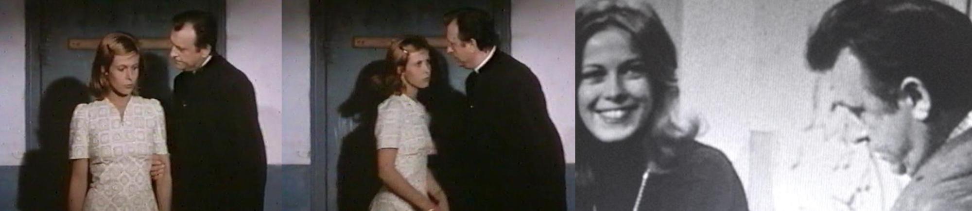 """Claude Jade und Claude Piéplu in """"Prêtres interdits"""" und im November 1973 bei """"Midi Trente"""""""