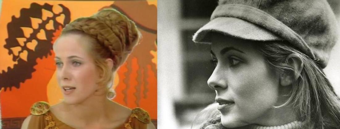 """Claude Jade mit imposanter Frisur im """"Sommernachtstraum"""" und 1970 auf einerm Werbefoto für """"Domicile conjugal"""""""