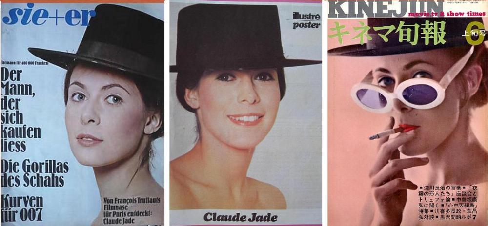 """Claude Jade mit Hut auf internationalen Zeitschriften (""""Sie + Er, Kinejun) und auf einem Poster."""