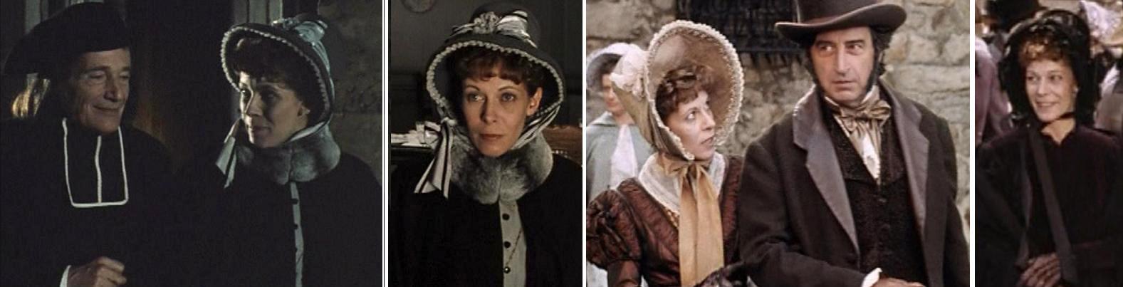 """Claude Jade als Lucienne des Grassins mit Bernard Haller (links) und Pierre Vernier in """"Eugénie Grandet"""" (1993)"""