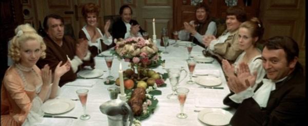 Das letzte Gastmahl des Dr. Mixit: Lyne Chardonnet, Armand Mestral, Rosy Varte, Paul Préboist, Alfred Adam, Gérard Boucaron, Claude Jade und Jacques Provins