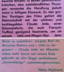 Kritik Filmkritik deutsche Filmkritiken von Renate Holland-Moritz (oben) und Heinz Hofmann; Eulenspiegel, Mein Onkel Benjamin, Claude Jade, Jacques Bre