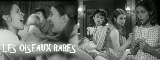 Nach der Kissenschlacht: Bernadette Robert, Françoise Godde, Dominique Labourier, Claude Jade
