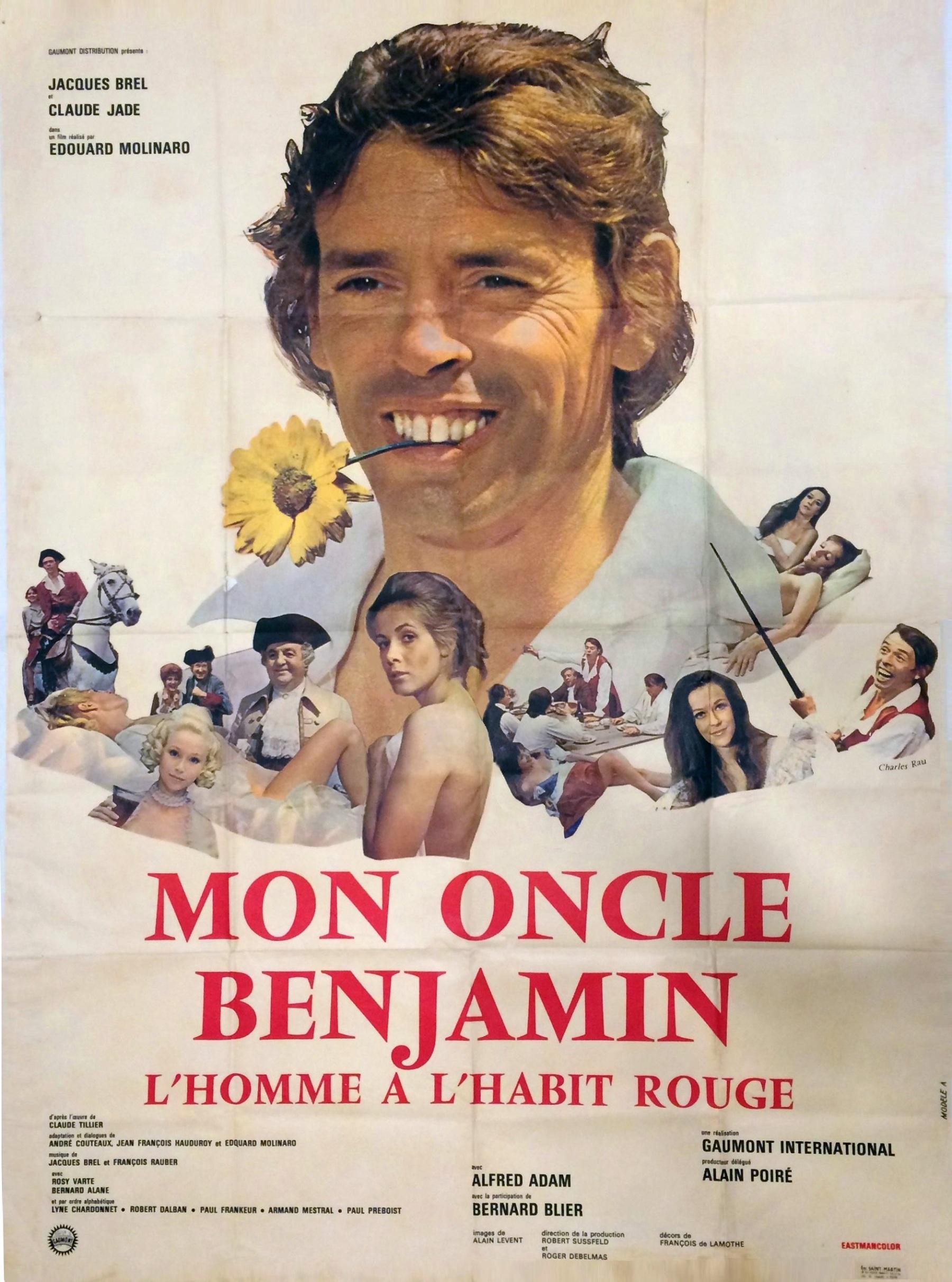 "Affiche film ""Mon oncle Benjamin"" Edouard Molinaro, Jacques Brel, Claude Jade, 1969, box Office France, succes, Claude Tillier, Mein Onkel Benjamin, Der Mann im roten Rock"