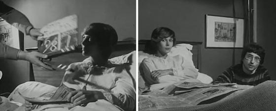 Klappe am ersten Drehtag für Claude Jade; rechts mit Regisseur Michel Subiela