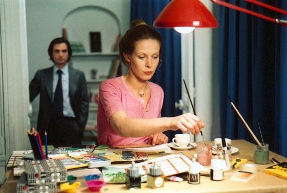 """Émile Schneiders Enkelin Claude Jade malend im Truffaut-Film """"Liebe auf der Flucht"""""""