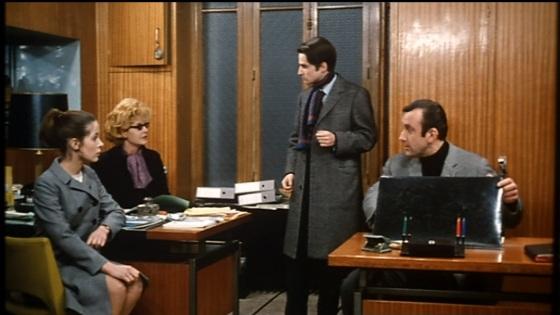 Claude Jade, Claire Duhamel, Jean-Pierre Léaud und Daniel Ceccaldi. Baisers volés. 1968.