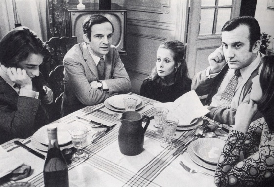"Jean-Pierre Léaud, François Truffaut, Claude Jade, Daniel Ceccaldi und Claire Duhamel bei Dreharbeiten zu ""Domicile conjugal"", 1970"