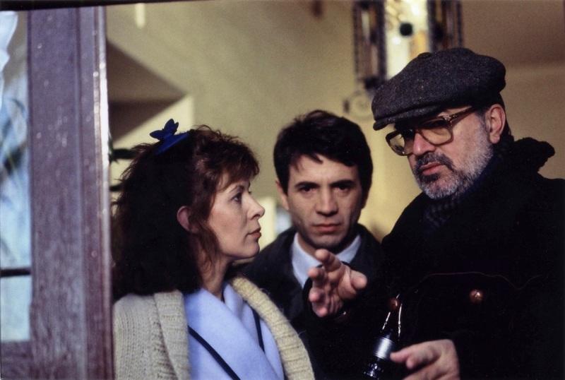 """Claude Jade, Roger Mirmont, Charles Bitsch, tournage """"V comme Vengeance: Le bonheur des autres"""""""