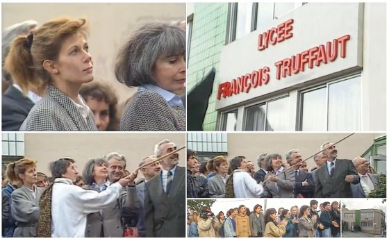 Cérémonie 26 octobre 1990 à Challans pour baptise le nouveau lycée François TRUFFAUT. Claude JADE, Madeleine MORGENSTERN, Suzanne SCHIFFMAN