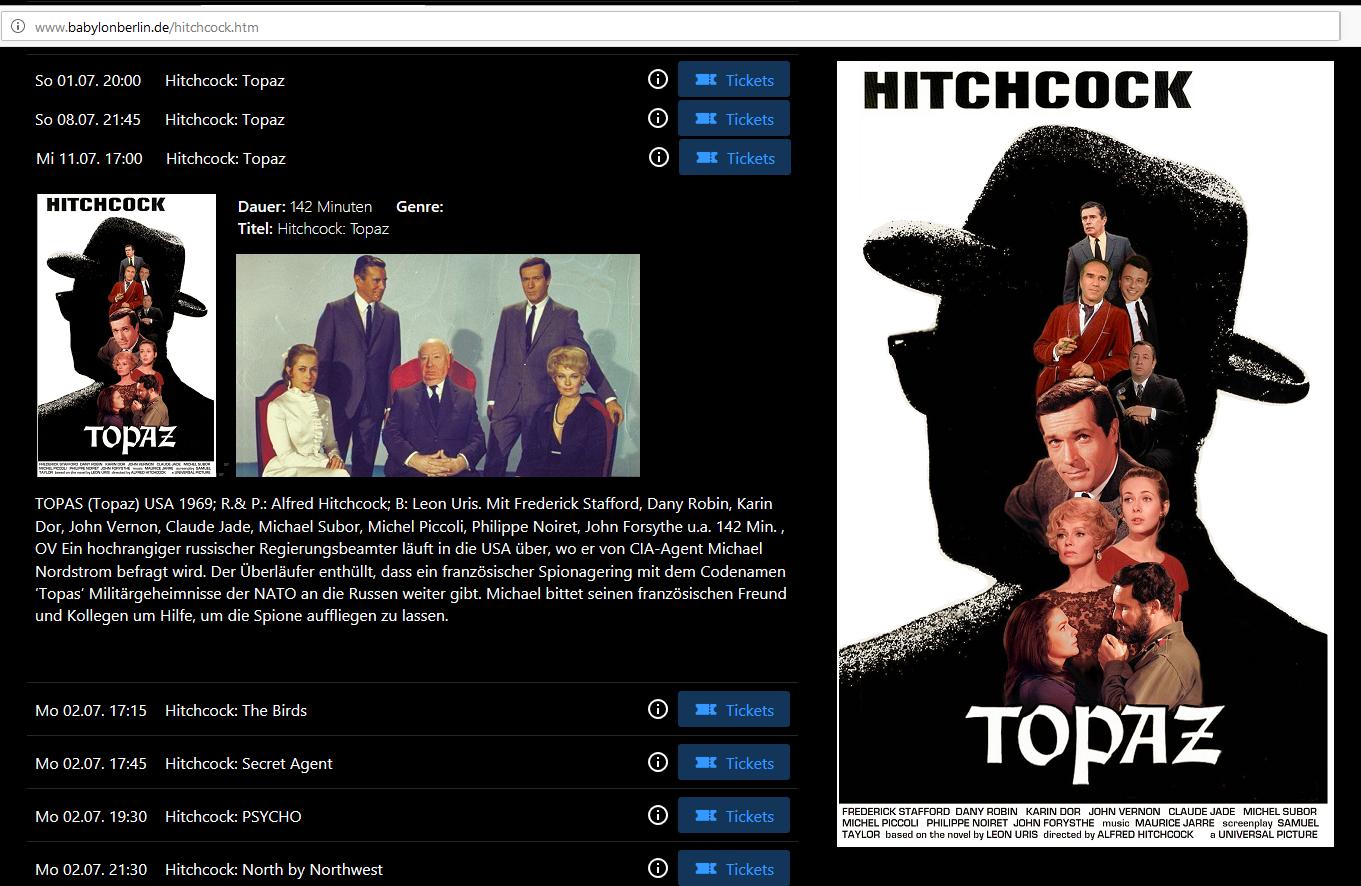 Topaz Alfred Hitchcock Director's Cut Deutschland Berlin Kino Babylon Hitchcock-Retrospektive Hitchcock-Reihe Claude Jade Rosa-Luxemburg-Platz Juli 2018