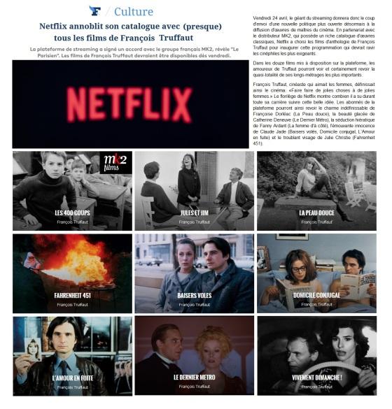 Netflix, FRancois TRuffaut, Doinel, MK2, Claude Jade